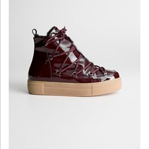 & Other Stories patent leather snow boots